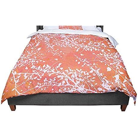 KESS InHouse Iris Lehnhardt Twigs Silhouette Coral Orange Twin Comforter 68 X 88