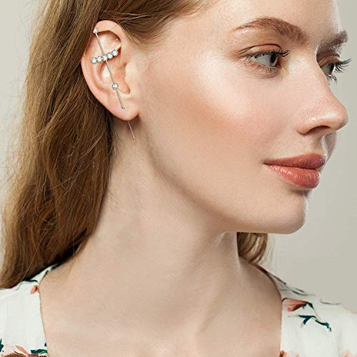 Minimalist Sterling Silver Tassel Chain Drop Dangle Small Hoop Earrings Rhinestone Crawler Earrings Long Ear Stud Climber Earrings for Women