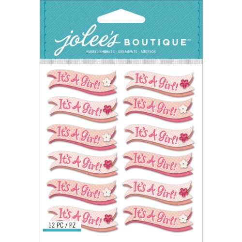 Jolee's Boutique Dimensional Stickers, It's a Girl Banner Repeats