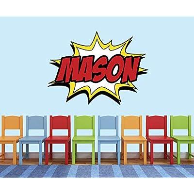 Custom Comic Name Wall Decal - Superheroes Wall Decals - Nursery Wall Decals - Baby Room Mural Art Decor Vinyl Sticker (50