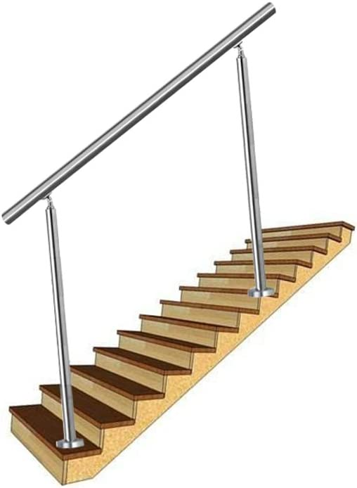 pared pasamanos escaleras barandilla con 0 travesa/ños para escaleras LZQ 160cm Barandilla de acero inoxidable balcones