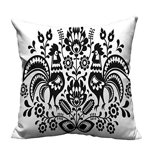 YouXianHome Zippered Pillow Covers Polish Embroidery Roosters Folk Pattern Cutout Easter Celebrati Decorative Couch(Double-Sided Printing) 21.5x21.5 inch]()