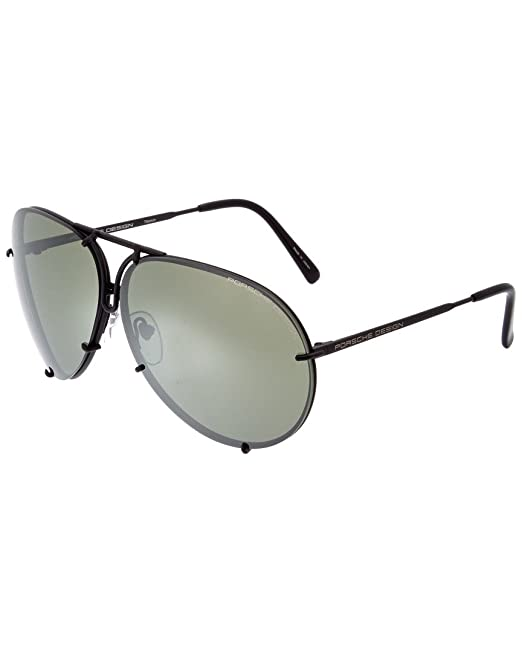 2d1d3d04a0 Porsche Design P8478 P 8478 D Matte Black Aviator Sunglasses 69mm W Extra  Lenses D-Black Matte Frame with Brown   Olive Silver Mirror Lenses   Amazon.ca  ...