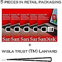 SanDisk Cruzer Fit 16GB (5 pack) SDCZ33-016G USB 2.0 Flash Drive Jump Drive Pen Drive SDCZ33-016G - Five Pack + Bonus Wisla Trust (TM) landyard