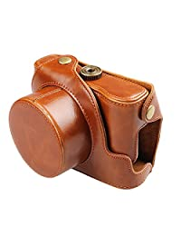 xhorizon TM FLK Brown Protective Leather Camera Case, Bag Case for Canon PowerShot G1X Mark II Digital Camera
