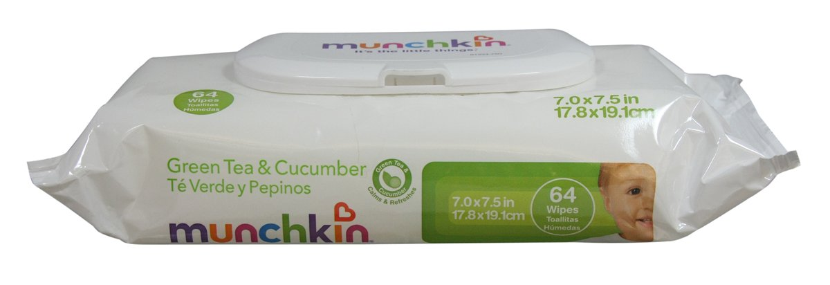 Amazon.com: Munchkin Baby Wipes, Cucumber and Green Tea, 64 Count (Pack of 12): Health & Personal Care