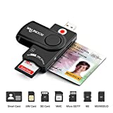 DOD Military USB CAC Smart Card Reader, Rocketek USB Smart Card Reader Compatible with Windows, Linux/Unix, MacOS X - Build in SDHC/SDXC/SD Card Reader and Micro SD MS M2 Card Reader for SIM