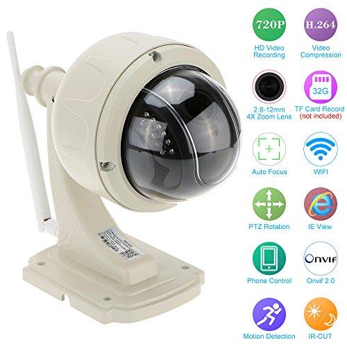 "KKmoon® 3.5"" H.264 HD 720P 2.8-12mm Auto-focus PTZ Wireless WiFi IP Camera Security CCTV Camera Home Surveillance"
