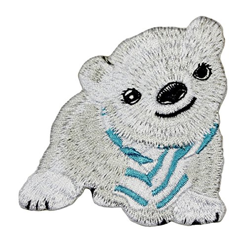 - Cute Polar Bear Cub With Scarf Patch Baby Animal Embroidered Iron-On Applique