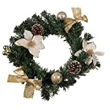 """Christmas Wreath with White Poinsettia, Snow Covered Pine Cones, Gold Bows and Ornaments   Perfect for Interior or Exterior Christmas Decor   Hang on Doors, Walls, Stairs and More!   10""""x10""""x3"""""""