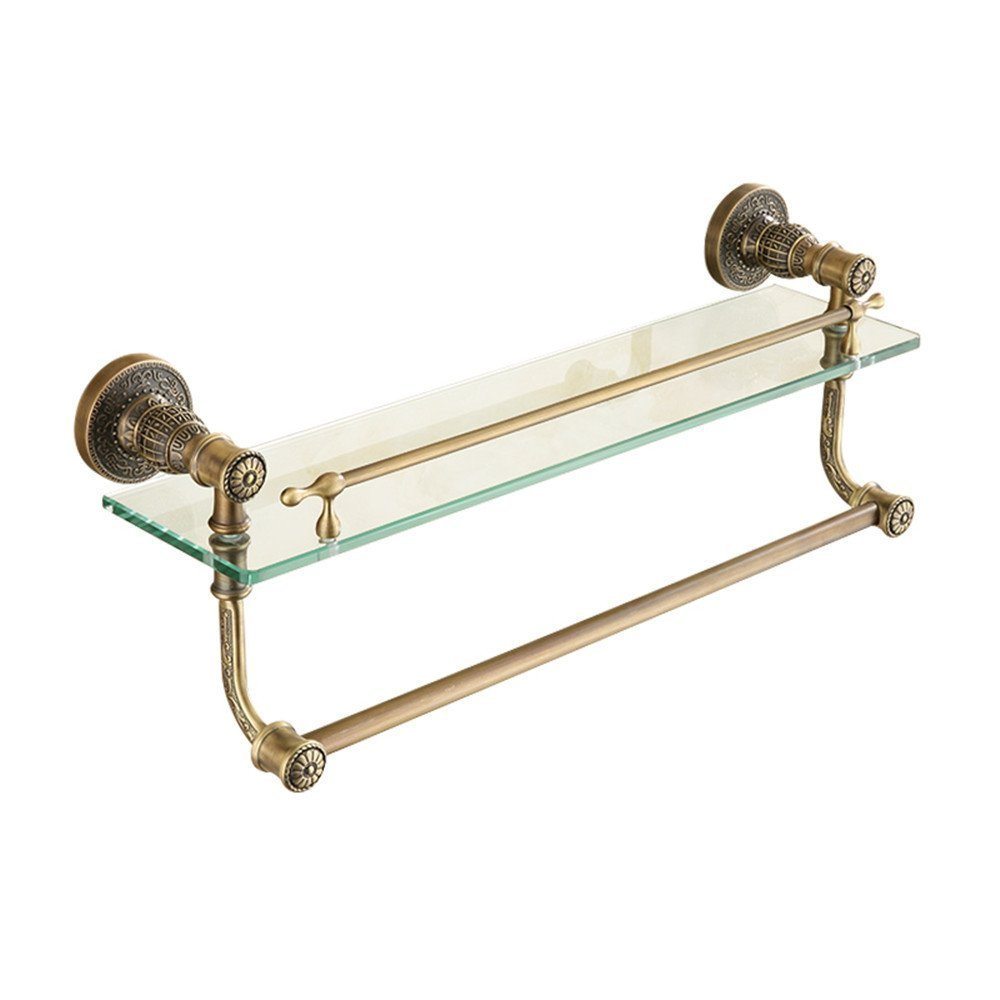 HOMEE European Antique Shelf Cosmetics Rack Bathroom Towel Bar Glass Rack