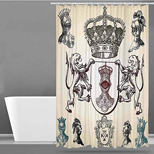 VIVIDX Home Decor Shower Curtain,Medieval,Shield Design with Various Ancient Figures Coat of Arms Blazon Crown Print,Single stall Shower Curtain,W47x63L Cream Teal Maroon