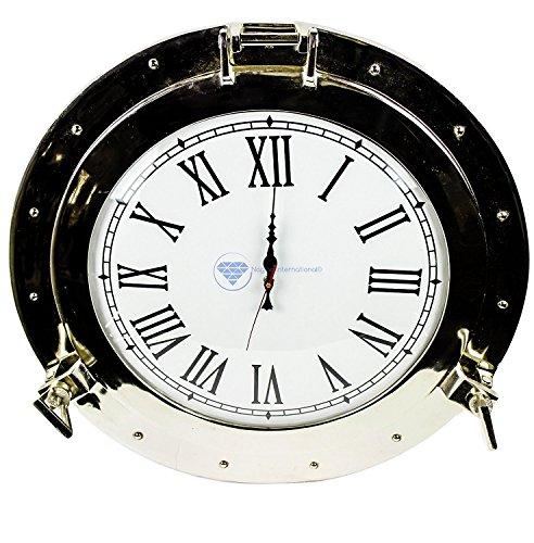 Nagina International Silvery-White Lustrous Aluminum Metal Nickel Coated Premium Nautical Porthole Roman's Time Clock | Pirate's Wall Decor Accent (10 Inches, - Pirates Metal Clock