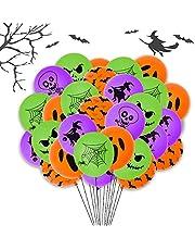 Halloween Balloons - 60 Pcs Halloween Orange Green Purple Balloons Set, 12 Inch Spider Web Bat Ghost Latex Balloons for Halloween Birthday Party, Baby Shower Decorations