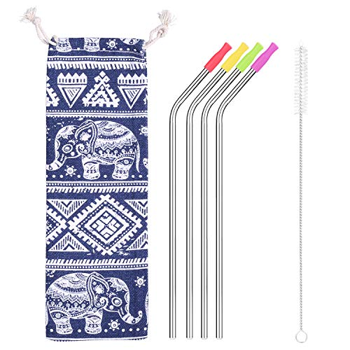 10.5 Inch Stainless Steel Straws,Set of 4 Drinking Metal Straws For 30 oz Tumbler and 20 0z Tumbler, Fits RTIC Tumbler | Fits all Yeti Ozark Trail SIC & RTIC Tumblers