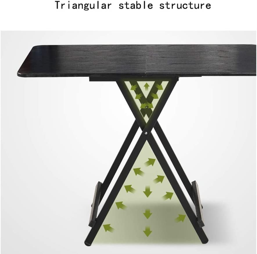 LI MING SHOP-Folding table Household Small Apartment Rectangular Dining Table Outdoor Camping Table Convenient Portable Table Color : Black walnut, Size : 100x60x74cm