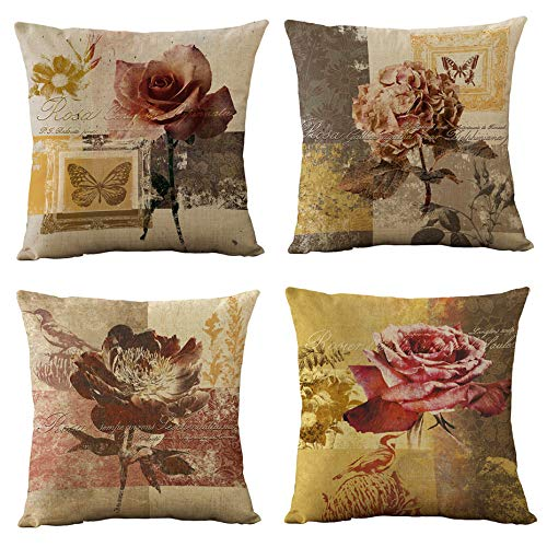 WOMHOPE 4 Pcs Vintage Rose Flower Printing Throw Pillow Covers Cases Cotton Linen Burlap Square Decorative Cushion Covers Pillowcase Cushion Case for Sofa,Couch 18 x18 Inches (Rose - - Roses Vintage Burlap Linen