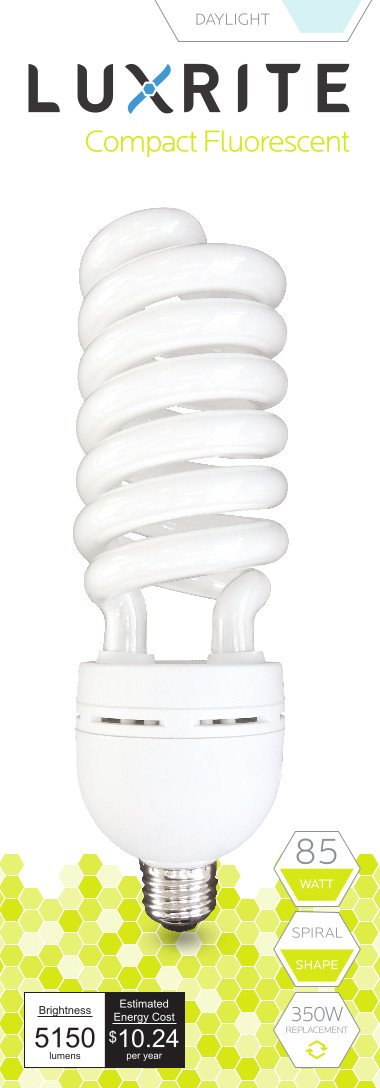 Luxrite LR20223 (6-Pack) 85-Watt High Wattage CFL Spiral Light Bulb, Equivalent To 350W Incandescent, Daylight 6500K, 5150 Lumens, E26 Standard Base