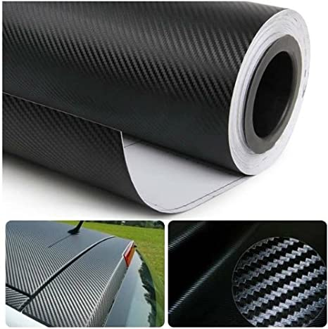 DIYAH 3D Black Carbon Fiber Film Twill Weave Vinyl Sheet Roll Wrap DIY Decals (48' X 60' / 4FT X 5FT)