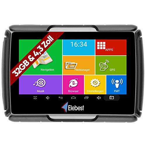 Elebest Motorrad und PKW Navigationsgerät Rider A43 Pro, Navi, 4.3 Zoll Bildschirm Android 6.0 – Bluetooth W-LAN…