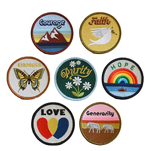 The Novogratz 1013-Poster Virtues Patches (Set of 7) by The Novogratz