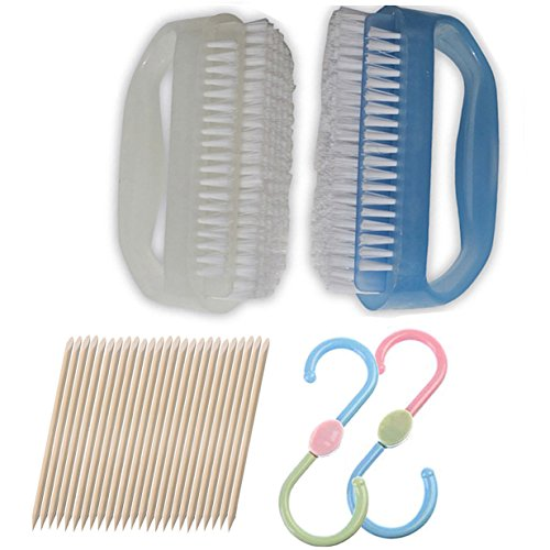 Coralpearl Finger Nail Brush for Deep Cleaning Hand Scrub Cleaner Blue and White with Cuticle Remover,S Hook Tool Set Pack of 5(3 Items, ()