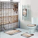 Philip-home 5 Piece Banded Shower Curtain Set Weathered barn Wood with Acorns and Cones Fall ation Decorate The Bath