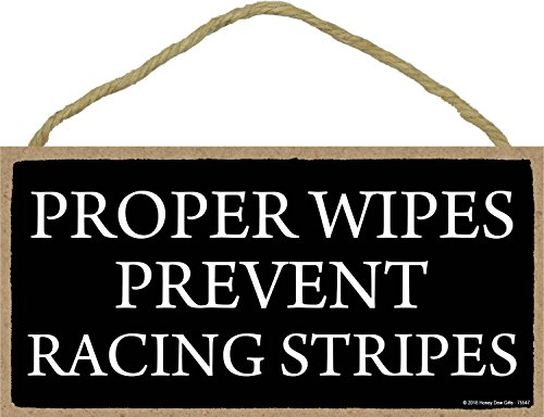 Honey Dew Gifts Proper Wipes Prevent Racing Stripes 5 X 10 Inch Hanging Funny Bathroom Signs Wall Art Decorative Wood Sign Bathroom Decor