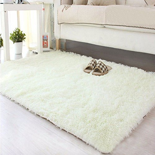DODOING Super Soft Modern Shag Area Rugs Living Room Carpet Bedroom Rug for Children Play Solid Home Decorator Floor Rug and Carpets,40cmx60cm(15.7x23.6 inch), Milky)