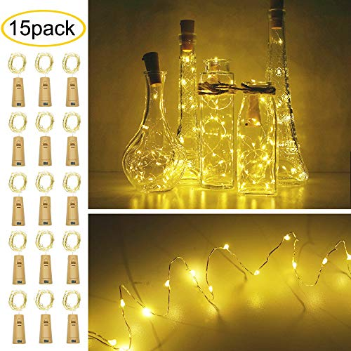 Decem Wine Bottle Cork Lights, 15 Pack 15 LED Warm White Cork Shape Silver Copper Wire LED Starry Fairy Mini String Lights for DIY Party Christmas Wedding, Outdoor & Indoor Decoration (Warm White) ()