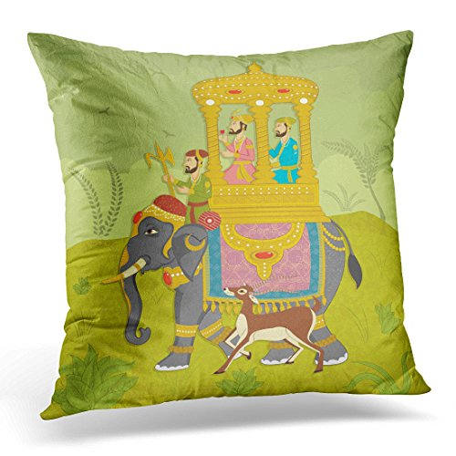 Breezat Throw Pillow Cover Colorful Mughal King on Elephant Ride in Indian Style India Rajasthan Decorative Pillow Case Home Decor Square 20x20 Inches - Throw Mughal