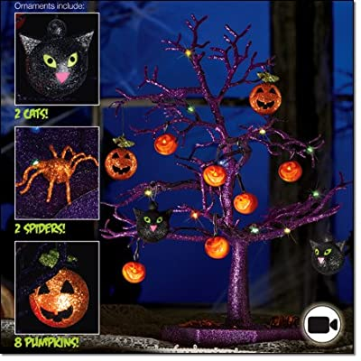 """Halloween LED Sparkle Tree with Cats, Pumpkins And Spiders- 19"""""""