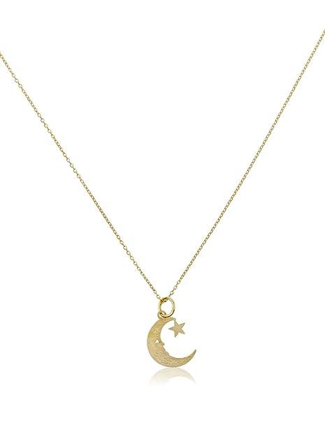 Córdoba Jewels   Gargantilla en Plata de Ley 925 bañada en Oro. Diseño Luna Oro