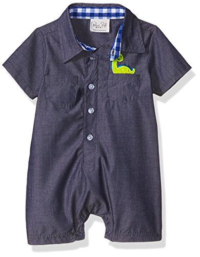 Rene Rofe Baby Baby Boys' 1 Piece Woven Collared Button Front Romper, Navy Blue Dino, 3-6 Months
