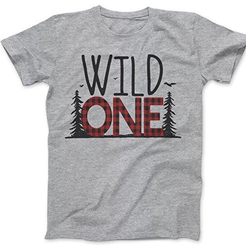 - First Birthday Wild one Shirt - Wild one Buffalo Plaid 1st Birthday Shirt (18m Tshirt, Grey)