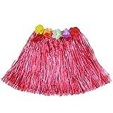Luau Beach Party Halloween Costume Party Hawaiian Dance Hula Skirt Grass Skirt, Red(pack of 3)