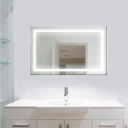 POPSPARK Specchio da bagno appeso frameless LED luci specchio parete ...