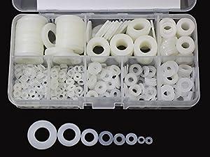 480 Pcs White Nylon Flat Washer Assortment Kit for M2 M2.5 M3 M4 M5 M6 M8 M10 Screw Bolt