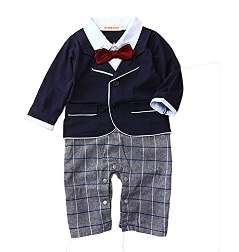 Baby Boy Smart Tuxedo Romper Suit Formal Outfit Pageboy Wedding Christening 6-12Months Blue