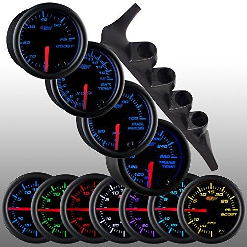 GlowShift Diesel Gauge Package for 1992-1997 Ford F-Series F-250 F-350 - Black 7 Color 60 PSI Boost, 1500 F Pyrometer EGT, Transmission Temp & 100 PSI Fuel Pressure Gauges - Black Quad Pillar Pod