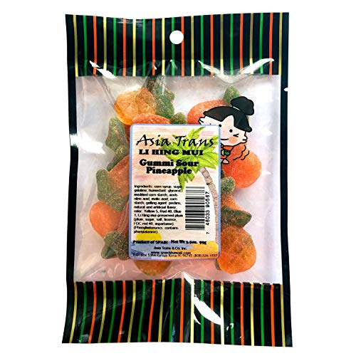 Li Hing Mui Pineapple Gummy - 18 Ounce Bag - Packed Fresh in Hawaii. Sweet and Tart Pineapple Gummi candy sprinkled with Li Hing Mui Plum powder. ()