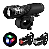 Blinkle Bike Light Set Cycling LED Bicycle Light with Zoomable Function 3 Modes 3 Aaa Batteries Powered Safety Bicycle Lights Kit(with 3 wheel light /2 taillight bike light free )