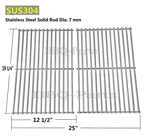 Cook Grid Set - Hongso SCS612 BBQ Stainless Steel Wire Cooking Grid Replacement for Select Brinkmann, Charmglow and Turbo Gas Grill Models, Set of 2