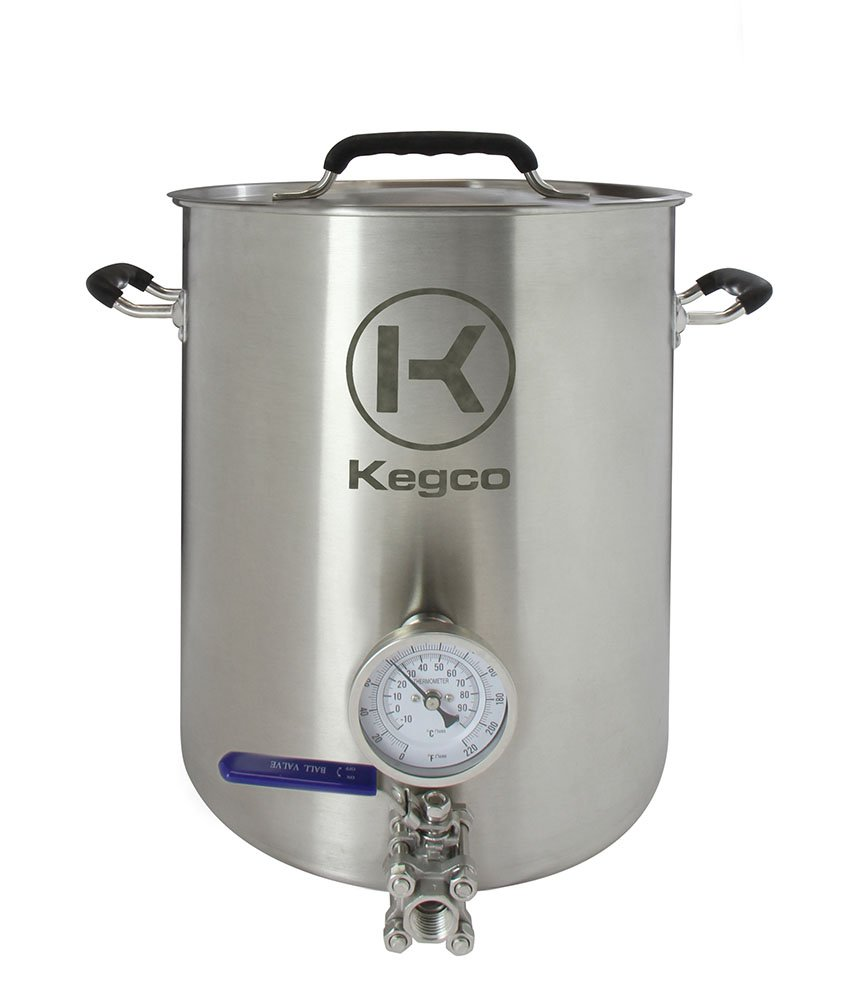 Kegco 6 Gallon Brew Kettle with Thermometer /& 2-Piece Ball Valve