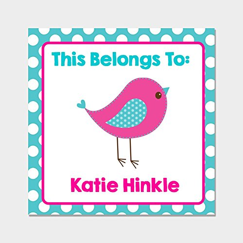 40 Personalized Square Pink & Blue Bird Back to School Name Labels - Kids School Supply Stickers - Kids Name Tags