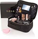 habe Travel Makeup Bag with Mirror - Organize Your Makeup! Make Up Bag Organizer Train Case for Women - Storage Capacity of 3 Cosmetic Bags/Make Up Bags/Make Up Cases (BONUS Make-Up Brush Cleaner)