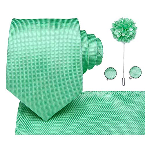 Dubulle Mint Silk Tie and Hanky Set Mens Lapel Pin for Suits with Cufflinks