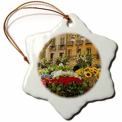 Aix En Provence Christmas Market - 3dRose Flowers on market day in Aix-en-Provence, France - EU09 BJN0030 - Brian Jannsen - Snowflake Ornament, Porcelain, 3-inch (orn_135837_1)