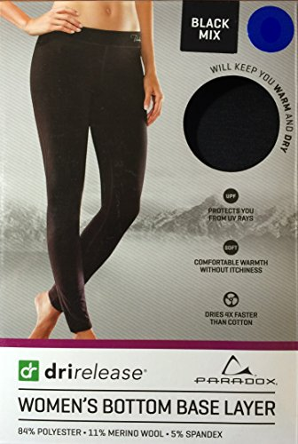 Paradox Dri Release Performance Womens Base Layer Pants  M  Black Mix
