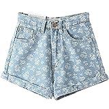 Unomatch Women's Printed Denim Straight Blue Shorts (27, BLUE)